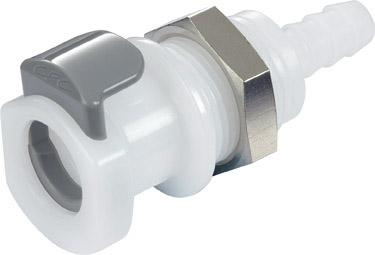 1/4 Hose Barb Non-Valved Panel Mount Coupling Body  (APC16004 NSF)