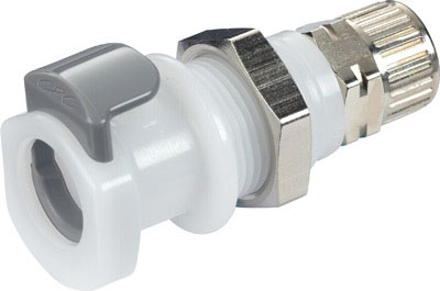 10mm PTF Valved Panel Mount Coupling Body