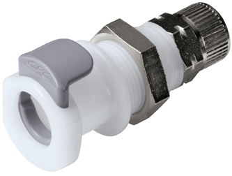 8mm PTF Valved Panel Mount Coupling Body
