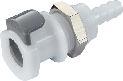 1/4 Hose Barb Valved Panel Mount Coupling Body  (APCD16004 NSF)