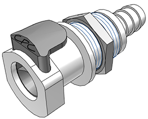 3/8 Hose Barb Valved Panel Mount Coupling Body  (APCD16006 NSF)