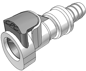 3/8 Valved In-Line Coupling Body with Shroud (APCD17006SH NSF)