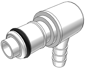 1/4 Hose Barb Valved Elbow Coupling Insert (APCD23004 NSF)