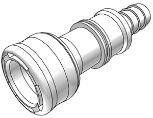 3/8 Hose Barb Valved In-Line BreakAway Coupling Body