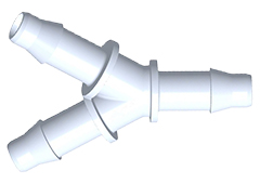 "Y  A-Barb Fitting, 1/4"" HB x 1/4"" HB, White Nylon"