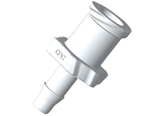 "Luer A-Barb Fitting, 1/8"" HB x Female Luer, White Nylon"