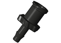 "Luer A-Barb Fitting, 1/8"" HB x Female Luer, Black Nylon"
