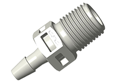 "Straight Fitting, 1/8"" BSPT x 1/8"" HB, Natural Polypropylene"