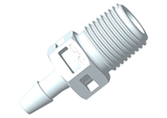 "Straight Fitting, 1/8"" BSPT x 1/8"" HB, White Nylon"
