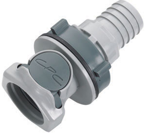 3/4 Hose Barb Valved Panel Mount Coupling Body (HFCD161212 NSF)
