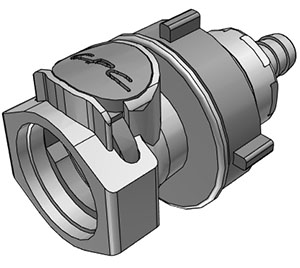 3/8 Hose Barb Valved Panel Mount Coupling Body