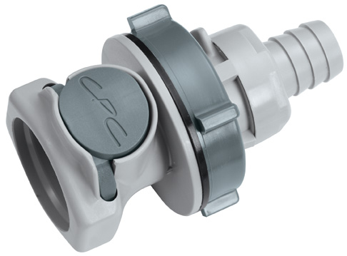 1/2 Hose Barb Valved Panel Mount Coupling Body