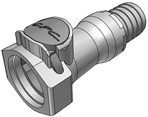 3/4 Hose Barb Valved In-Line Coupling Body