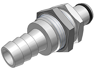 3/8 Hose Barb Non-Valved Panel Mount Coupling Insert  (LC42006 NSF)