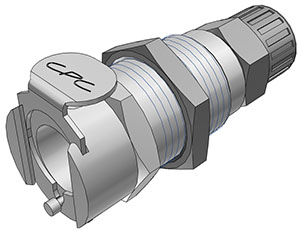3/8 PTF Valved Panel Mount Coupling Body