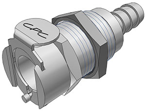 5/16 Hose Barb Valved Panel Mount Coupling Body