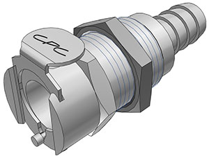 3/8 Hose Barb Valved Panel Mount Coupling Body  (LCD16006 NSF)