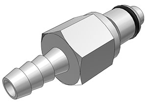 1/4 Hose Barb Valved In-Line Coupling Insert  (LCD22004 NSF)