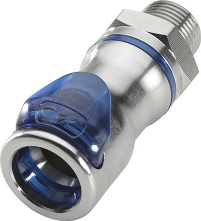 "3/8"" NPT Valved In-Line Liquid Cooling Body, Cool Blue"