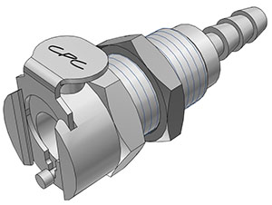 3/16 Hose Barb Valved Panel Mount Coupling Body