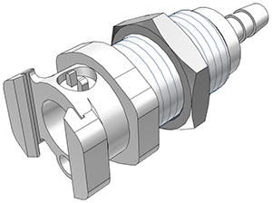 3/16 Hose Barb Valved Multi-Mount Coupling Body