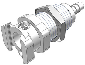 3/8 Hose Barb Valved Multi-Mount Coupling Body