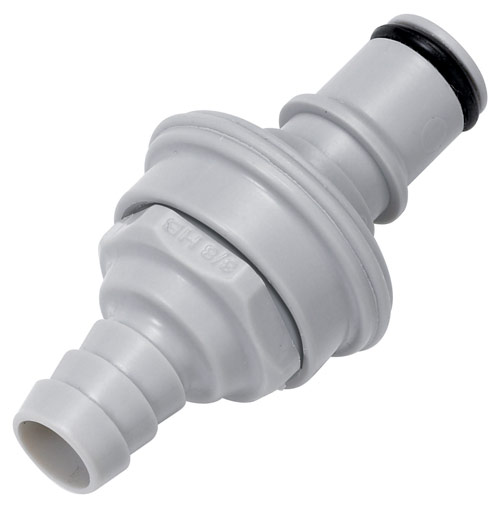1/8 Hose Barb Valved In-Line IdentiQuik Coupling Insert with RFID