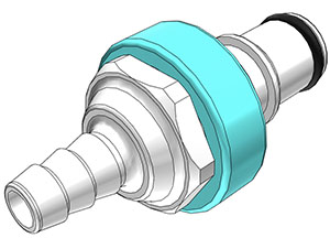 1/4 Hose Barb Valved In-Line Coupling Insert