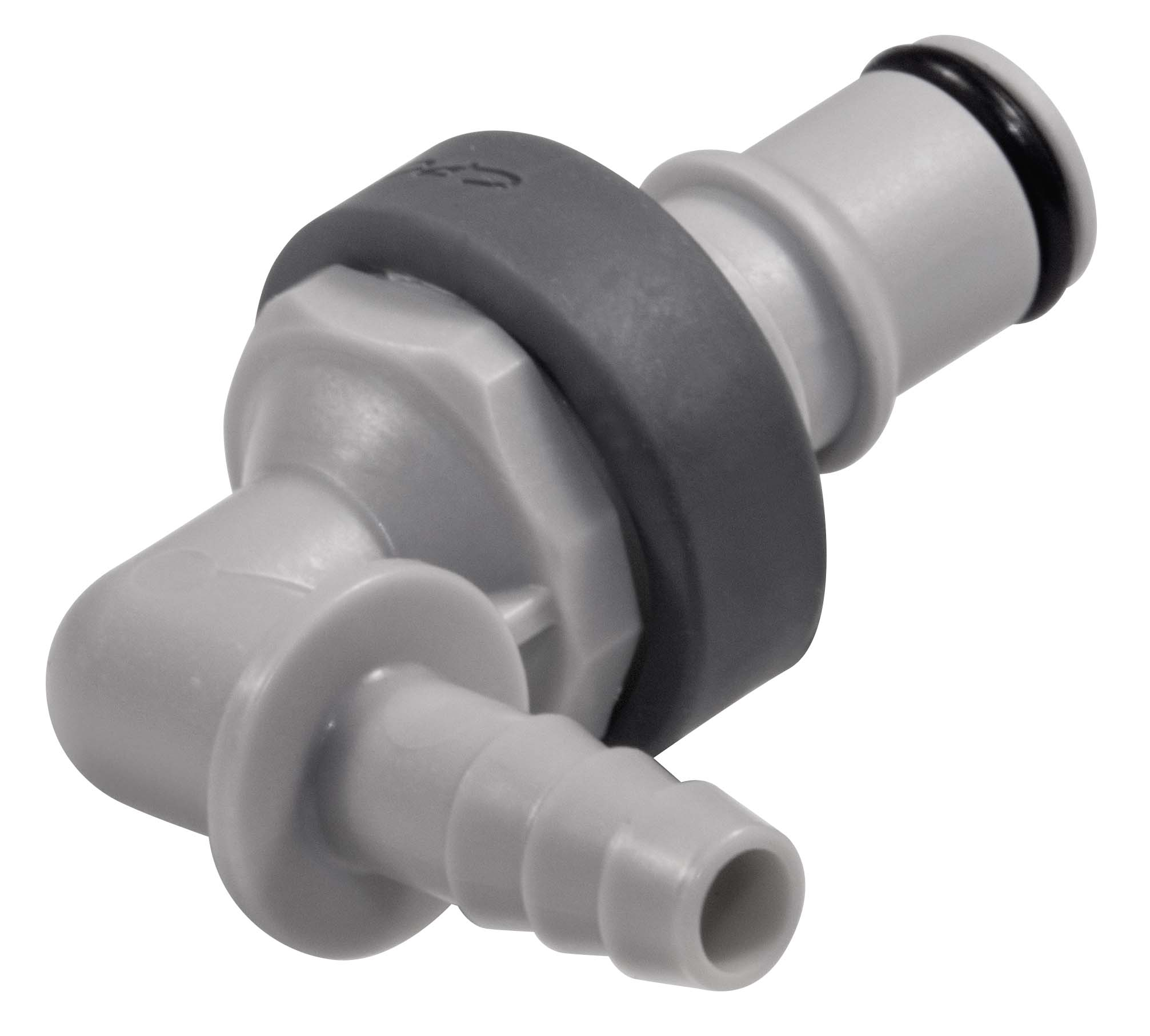 1/4 Hose Barb Valved Elbow Coupling Insert