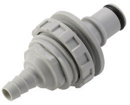 1/4 Hose Barb Valved Panel Mount Coupling Insert