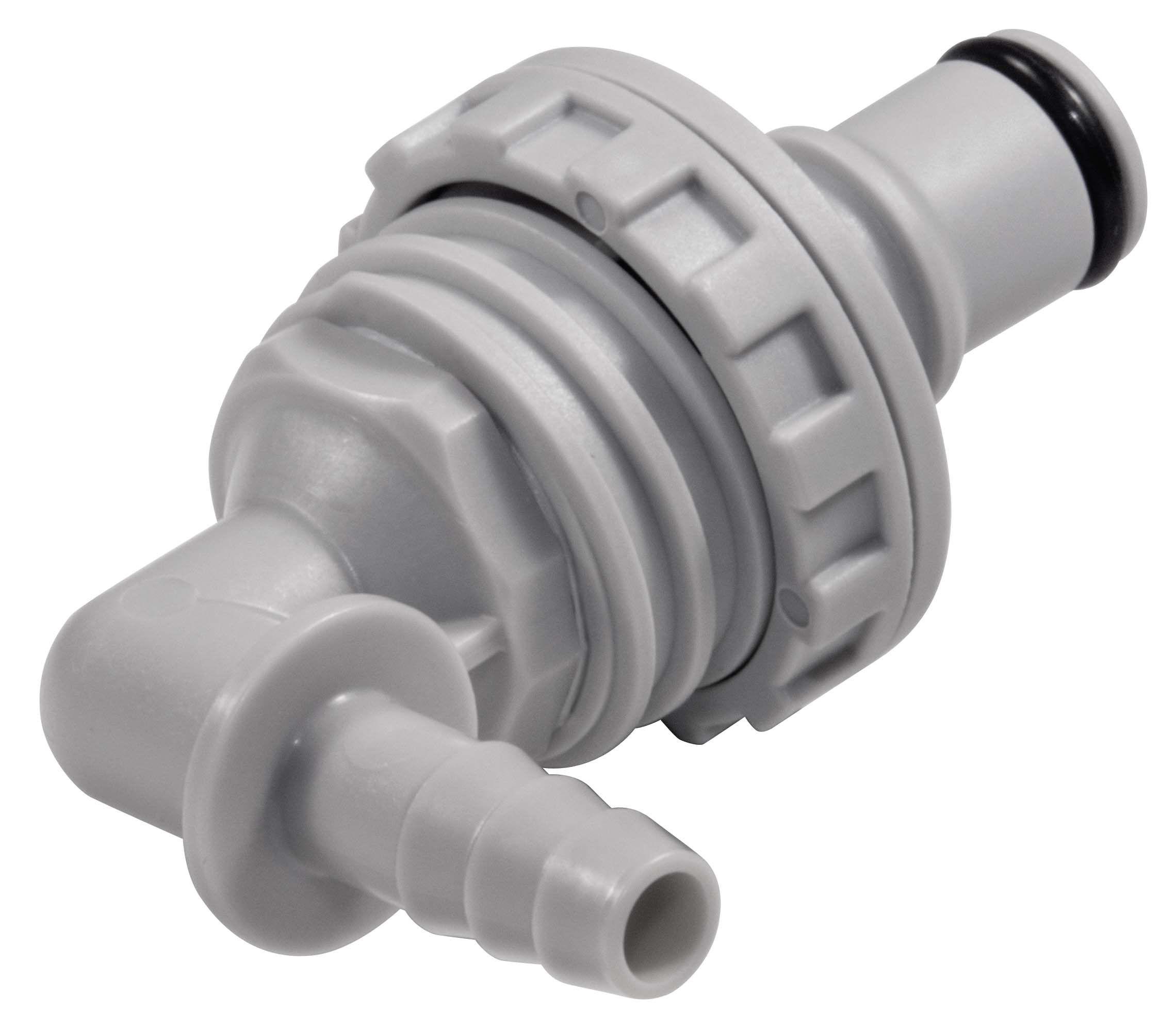 1/4 Hose Barb Valved Panel Mount Elbow Coupling Insert