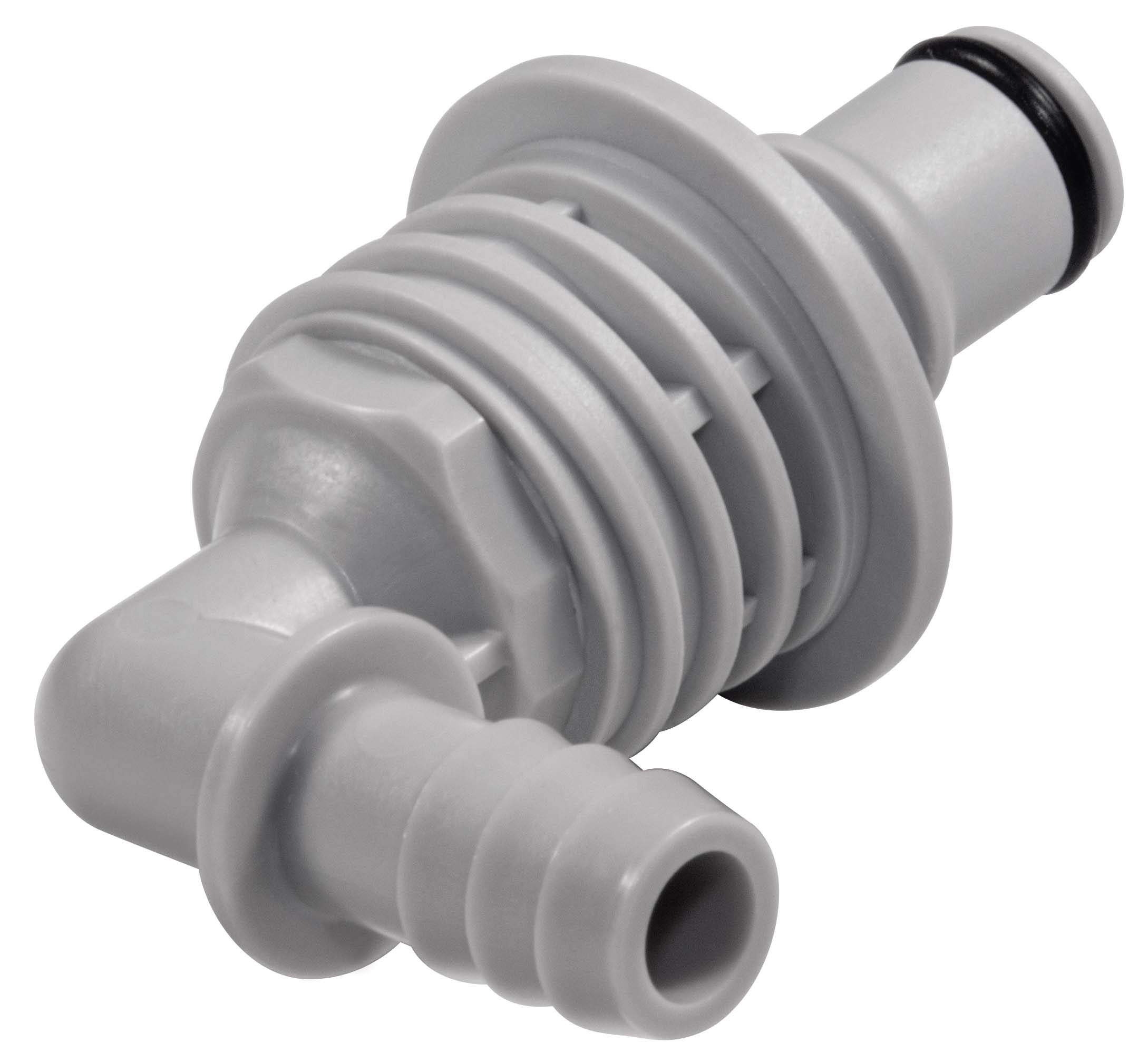 3/8 Hose Barb Valved Panel Mount Elbow Coupling Insert