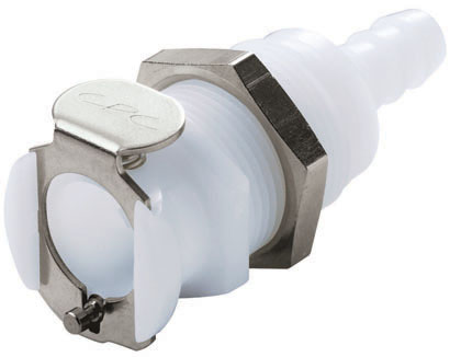 1/4 Hose Barb Non-Valved Panel Mount Coupling Body (PLC16004 NSF)