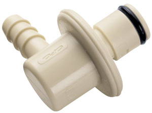 3/8 Hose Barb Valved Elbow IdentiQuik Coupling Insert with RFID