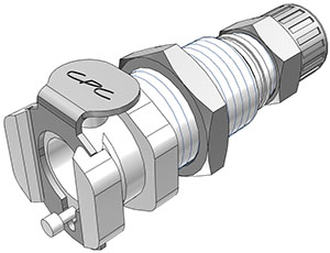 1/4 PTF Valved Panel Mount Coupling Body