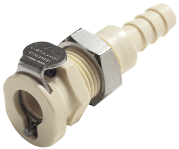 1/4 Hose Barb Non-Valved Panel Mount Coupling Body