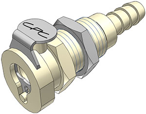 1/4 Hose Barb Valved Panel Mount Coupling Body