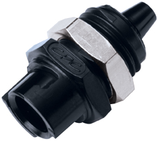 1/8 Hose Barb Valved Panel Mount Coupling Body