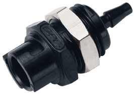 3mm Hose Barb Valved Panel Mount Coupling Body