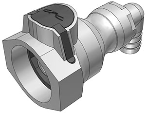 1/2 Hose Barb Valved Elbow Coupling Body FDA EPDM O-Ring (UDC) - NSF