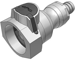 1/2 Hose Barb Valved Coupling Body FDA Buna O-Ring (UDC) - NSF