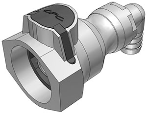 1/2 Hose Barb Valved Elbow Coupling Body FDA Buna O-Ring (UDC) - NSF