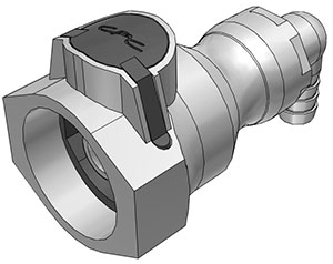3/8 Hose Barb Valved Elbow Coupling Body FDA Buna O-Ring (UDC) - NSF