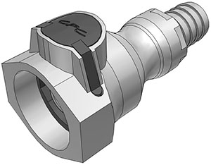 5/8 Hose Barb Valved Coupling Body FDA Buna O-Ring (UDC) - NSF